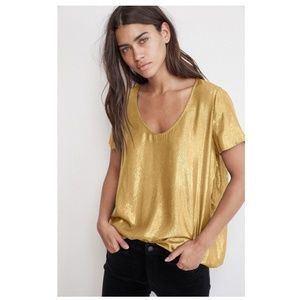 NWT Velvet by Graham & Spencer Gold Metallic Top